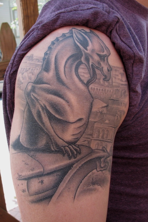 Passionate Gargoyle Dragon Tattoo On Shoulder For Boys