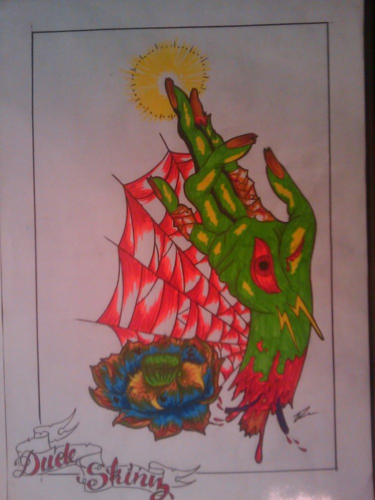 Passionate Zombie Hand Tattoo Design For Boys