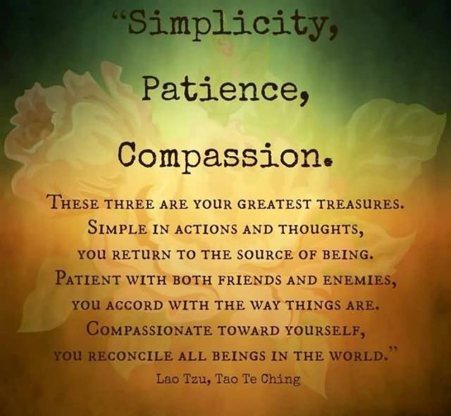 Patience Quotes simplicity patience compassion these three are your greatest treasures simple in actions and thoughts