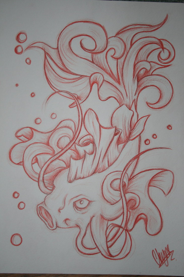 Perfect Awesome Koi Fish Tattoo Design For Girls