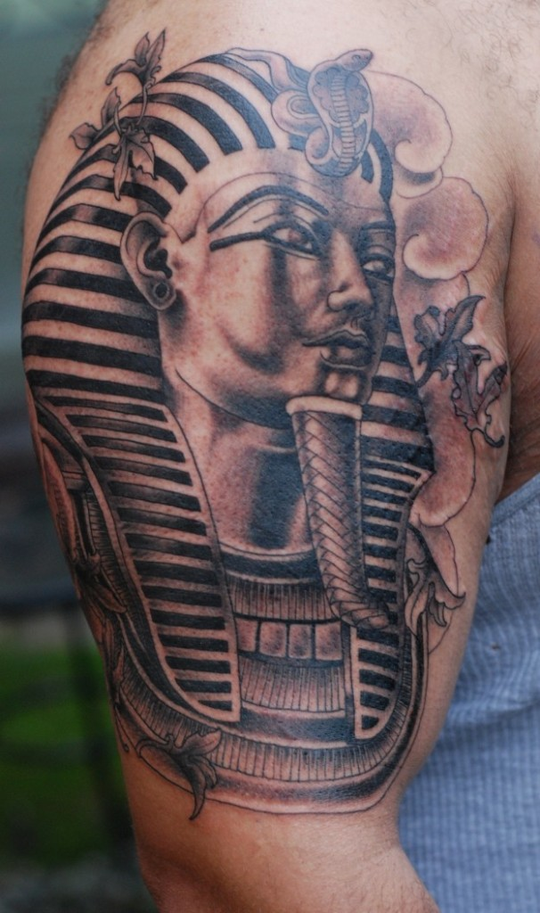 Perfect Egyptian Sphinx Tattoo On Shoulder For Boys