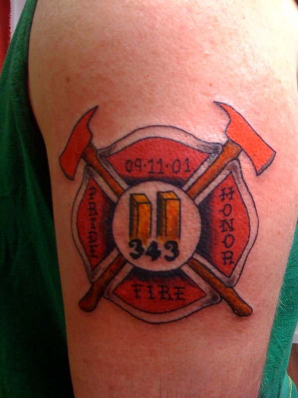 Perfect Firefighter Logo Tattoo On Biceps For Boys