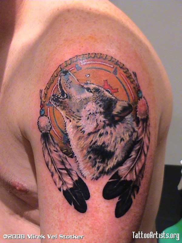 Perfect Wolf Dream Catcher Tattoo On Shoulder For Boys