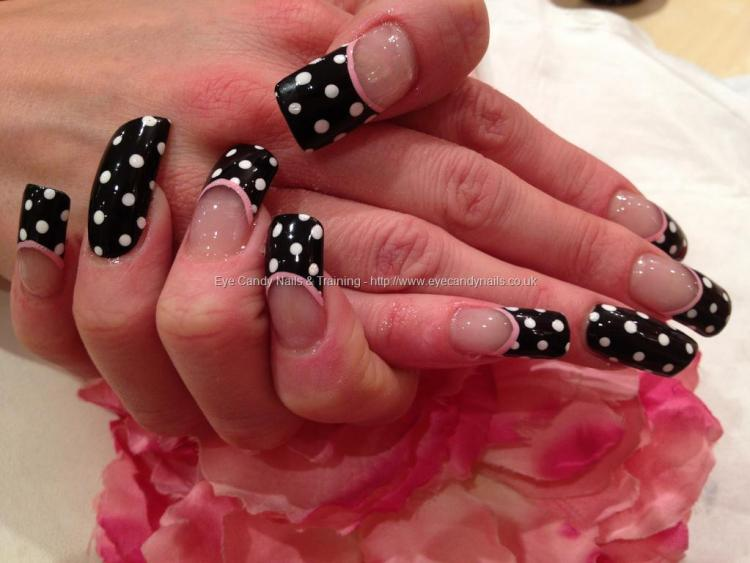 Phenomenal Black And White Polka Dot Nail Art Only On Tips With Pink Touch