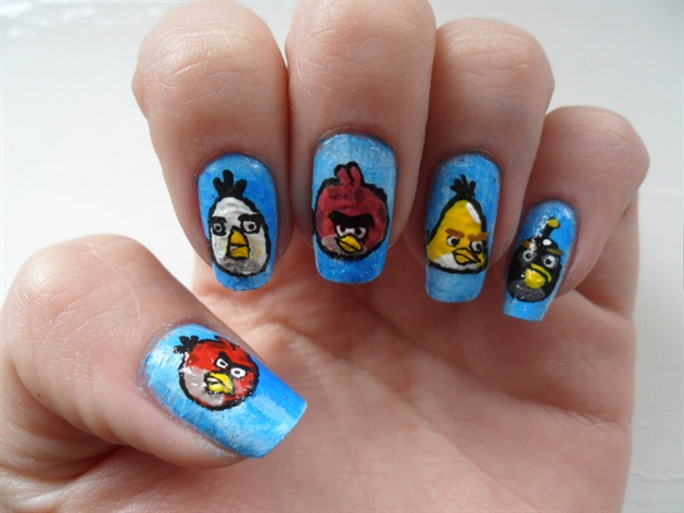 Phenomenal Blue Color Different Designs Angry Bird Nail Art Design