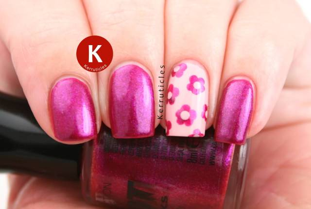Phenomenal Pink Nail Paint With Pink Flower Accent Nail Art