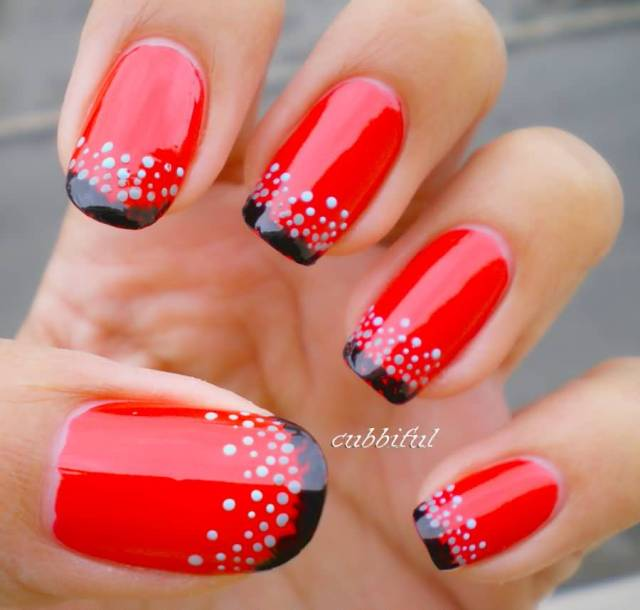 Phenomenal Red And Black Nails With White Dot