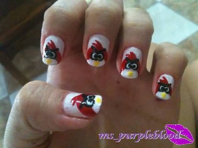 Phenomenal Red Color Finger Angry Bird Nail Art Design