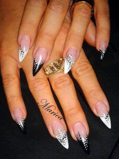 Phenomenal Stiletto Nails With White And Black Nails