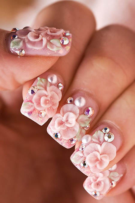 Pink Color And Diamond 3D Rose Flower Nail Art