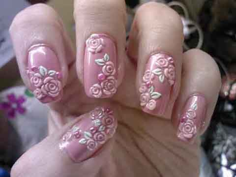 Pink Rose Flower With 3D Design 3D Rose Flower Nail Art