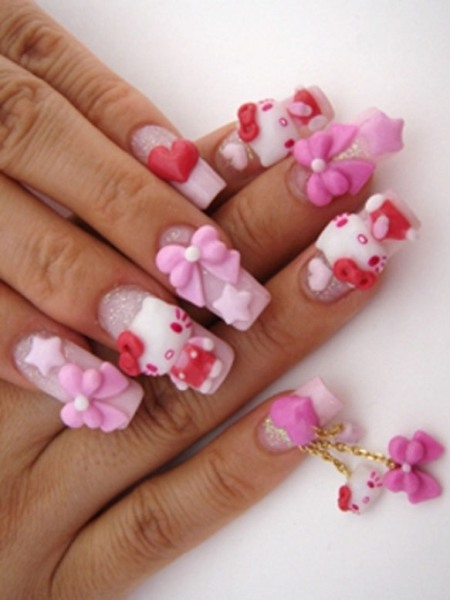 Pink Tattoo With Teddy And Ribbon 3D Nail Art