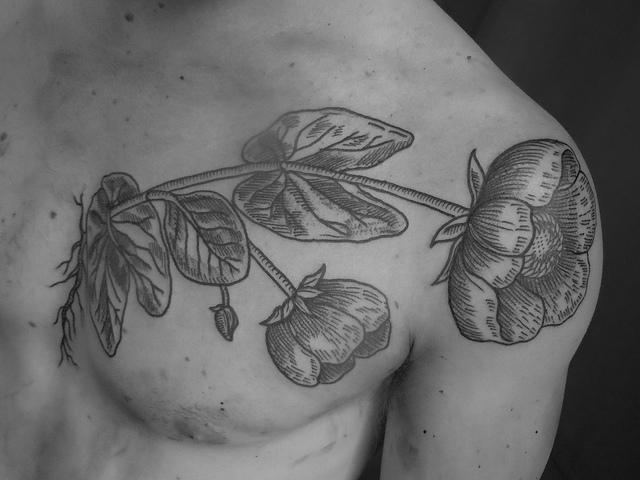 Popular Black n White Flower Tattoo Design For boys