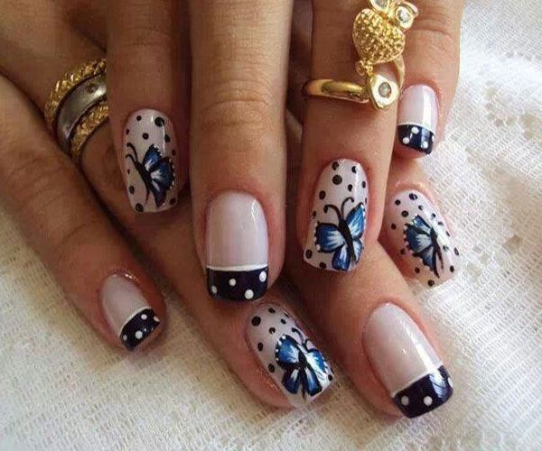 Popular Butterfly Nail With Black Doted Design On Tip