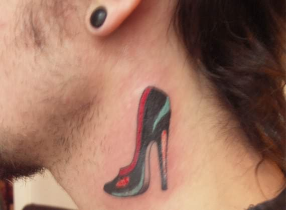 Popular Heel Tattoo On Neck For Boys
