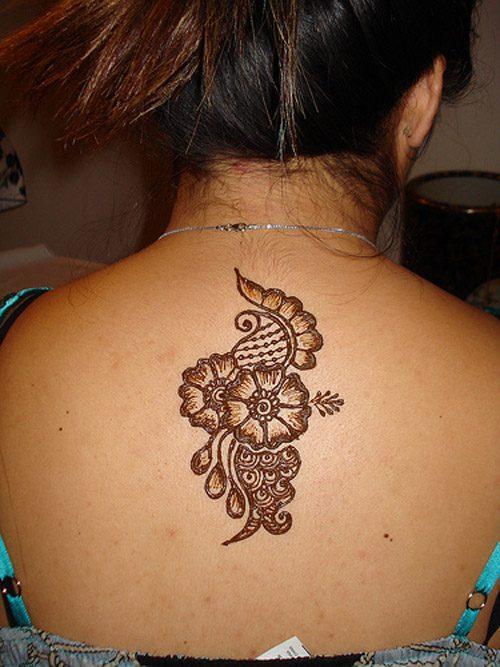 Popular Henna Tattoo On Upper Back For Girls