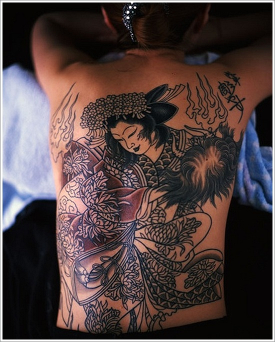 Popular Japanese Geisha Tattoo Design On Back For Boys
