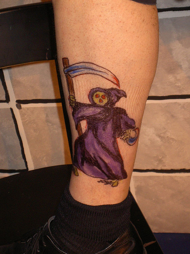 Popular Small Grim Reaper Tattoo On Ankle For Boys