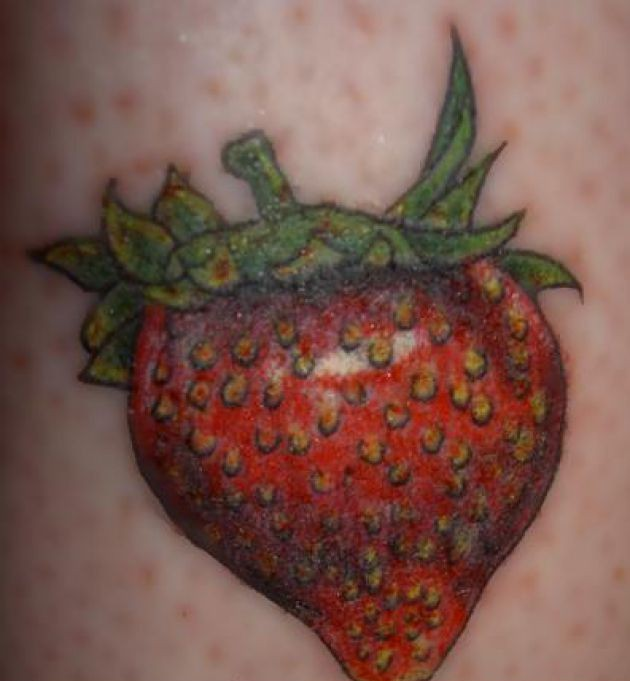 Popular Strawberry Fruit Tattoo Design For Girls