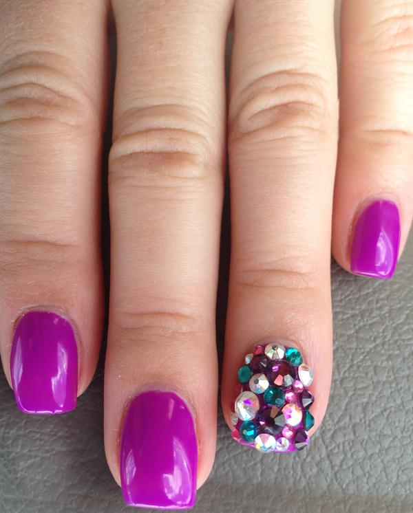 Purple And Rhinestone Paint Accent Nail Art