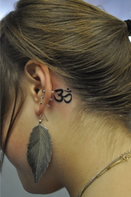 Realistic Om Tattoo Behind Ear For Girls