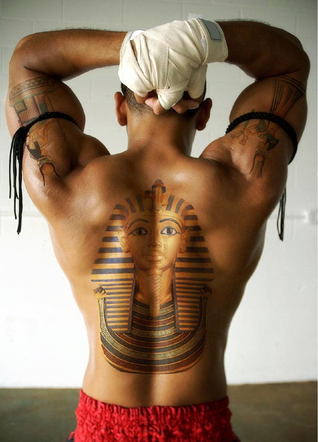 Realistic Egyptian Tattoo On Back For Boys