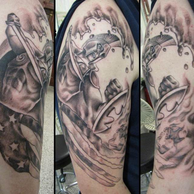 Realistic Firefighter Sleeve Tattoo Design For Boys