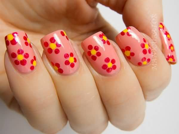Red Colored Flower With Pink Nail Paint 3D Acrylic Nail Art
