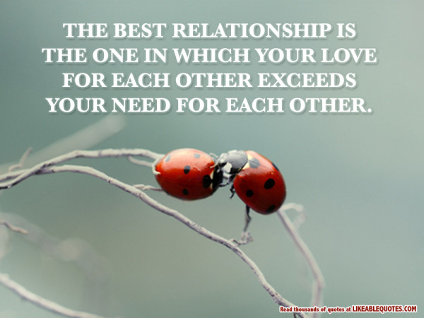 Relationship sayings the best relationship is the one in which your love for each other
