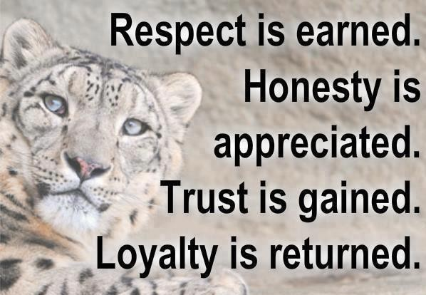 Respect Sayings respect is earned honesty is appreciated trust is gained