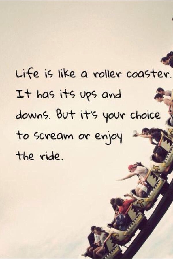 Ride Quotes Life is like a roller coaster it has its ups and downs but its your choice to scream or to