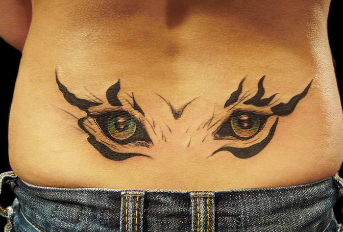 Sensation Eye Tattoo Designs On The Lower Back For Girls