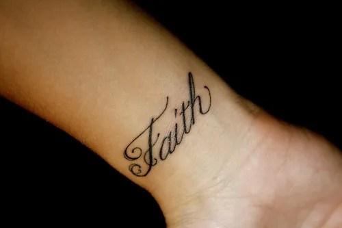 Sensation Faith Words Tattoo On Wrist For Girls