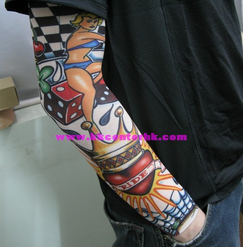 Sensation Girl Red Dice n Crown Heart Tattoo Design On Sleeve For Boys