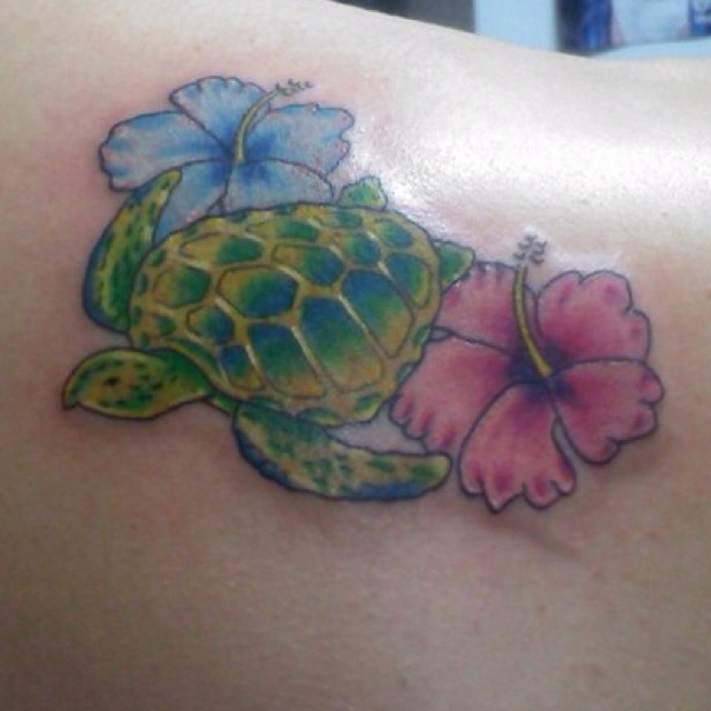 Sensation Hibiscus Turtle Tattoo Image For Girls