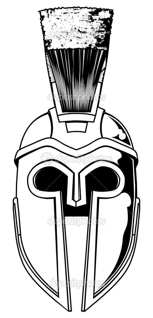 Sensation Monochrome Spartan Helmet Tattoo For Boys