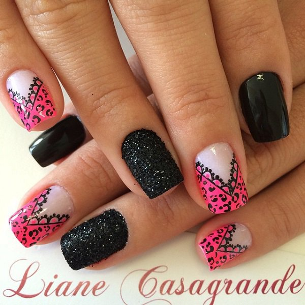 Sensational Black And Pink Nails With White Color Design