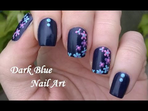 Sensational Blue Nail With Pink & Blue Color Flower Design