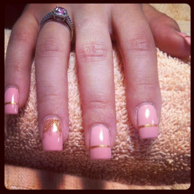 Sensational Baby Pink With Golden Color Design Pink Acrylic Nail Design