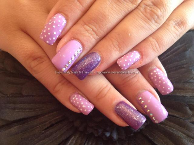 Sexiest Baby pink With White Dotted Design Pink Acrylic Nail Design