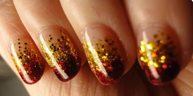 Sexiest Red Tips With Gold Sparkle Glitter Accent Nail Art