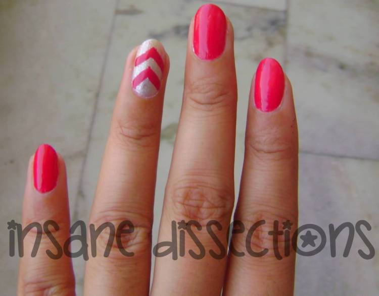 Sexy Red Nail Paint With Stripes Accent Nail Art