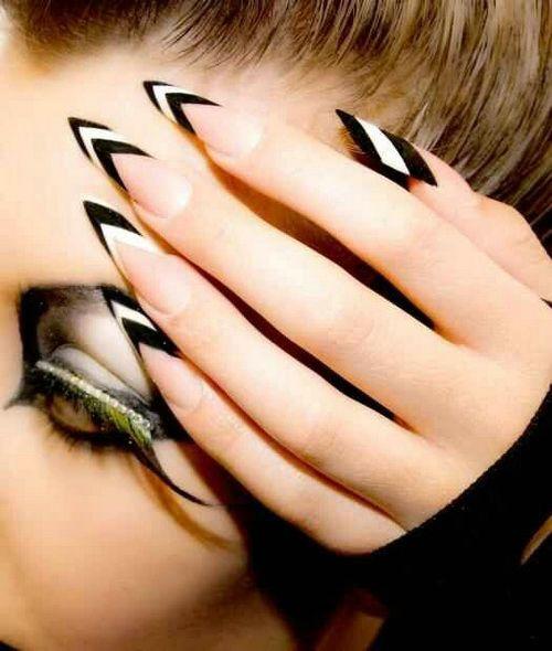 Shockingly Sharp Black And White Nails