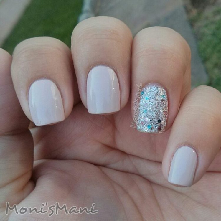 Silver Nail Paint With Baby pink Accent Nail Art