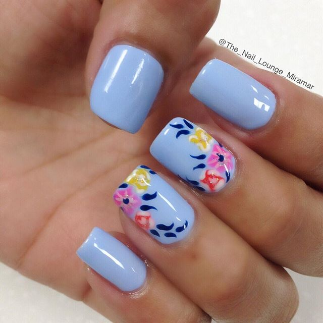 Simple Blue Nail Art With Colorful Flower