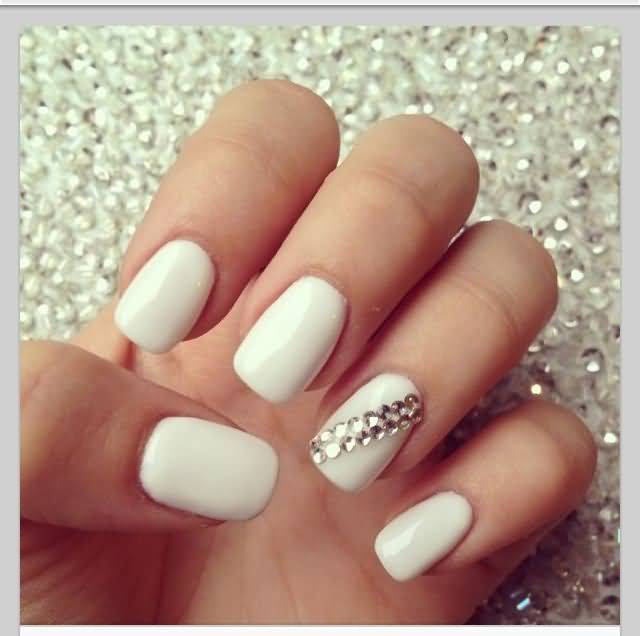 Simple Plain White With Rhinestone Accent Nail Art