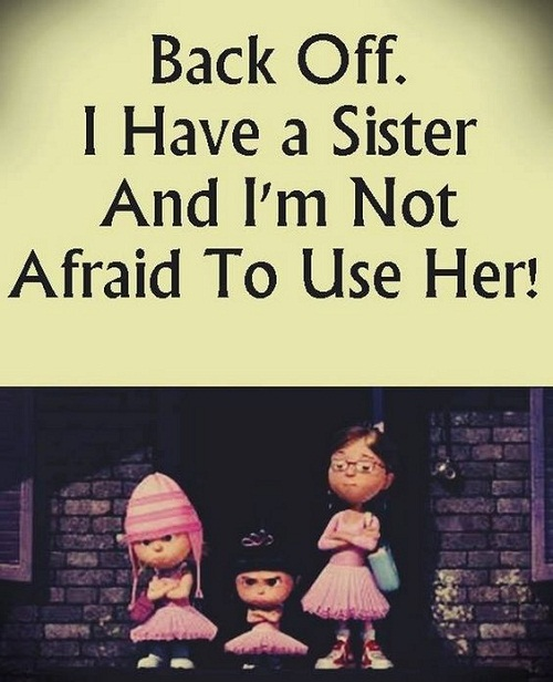 Sister In Law Quotes Back off i have a sister and i'm not afraid to use her