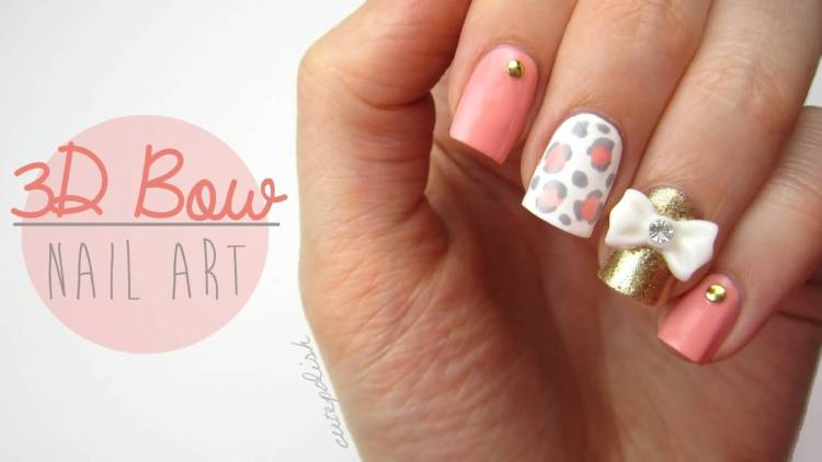 Small Bow And Tiger Print In pink Accent Nail Design