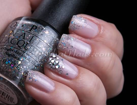 Sparkle Tips Of Nails With Rhinestones Accent Nail Art