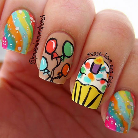 Sparkling Colorful Balloons With Ice Cream Birthday Nails